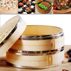 Vaporizador de bambú hecho a mano de 2 niveles con tapa fuerte duradero y reforzado mejor para Dim Sum, verduras, carne y pescado