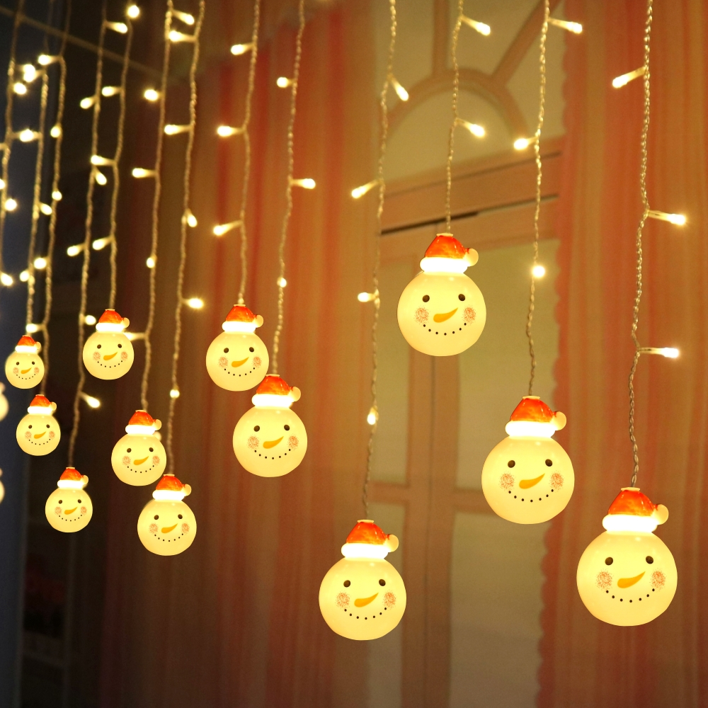3.5M 5M Snowman Led Curtain String Light 8 Modes Connectable Christmas Icicle Fairy Light For Wedding Patio Window Party Decor