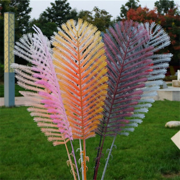 "20P Fake Single Stem Peacock Leaf 40.94"" Length Simulation Flocking Plastic Leaves for Home Wedding Decorative Artificial Plants"