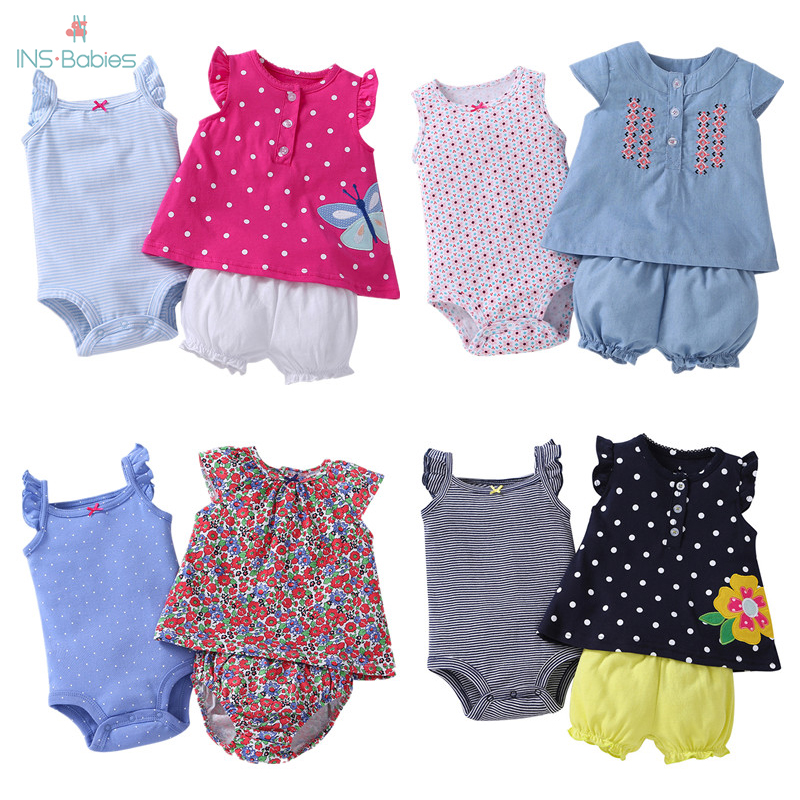 Bodysuit+shorts+t-shirt 3 Pieces Sets Newborn Baby Fashion Clothes Cotton Short Sleeved Clothes Girl Summer Cartoon Animal Suit