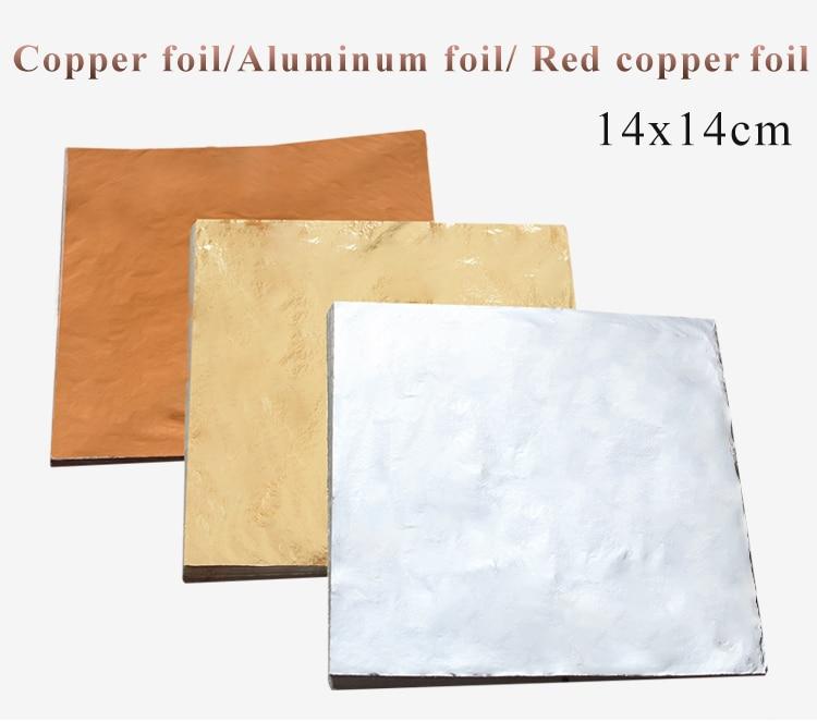 Imitation Gold Leaf Paper Gold Foil Sheets Gilding Copper Aluminum Leaf For Arts Crafts Gilded Home Decoration 100pcs 14x14cm