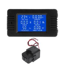 AC 80-260V 100A LCD Digital Power Energy Meter Voltage Current KWh Watt Meter Monitor with Split Current Transformer 110 220v digital tube ac 80 260v 100a 22kw 9999kwh power meter energy voltage current shell 4 panel transformer usb wire