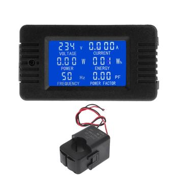 AC 80-260V 100A LCD Digital Power Energy Meter Voltage Current KWh Watt Meter Monitor with Split Current Transformer
