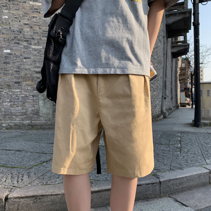 2020 Summer New Youth Popular Solid Color Loose Five-point Pants Fashion Casual Wild Straight Shorts Black / Khaki / Army Green