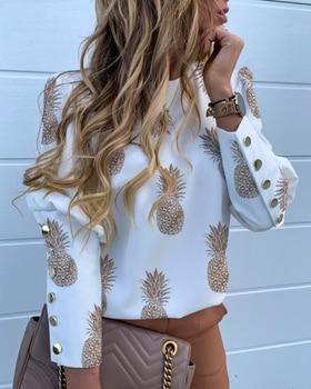 2019 Autumn Women Fashion Shirt Lady Long Sleeve Blouse Pineapple Print Metal Buttoned Detail Casual Blouse knot detail floral blouse with shorts