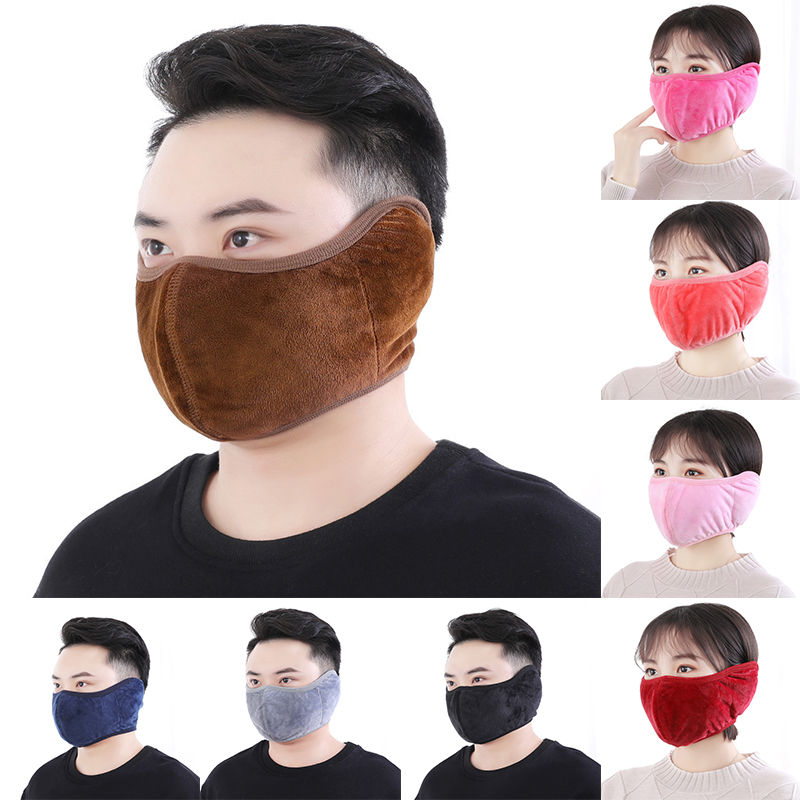 2 In 1 Velvet Ear Protective Mouth Mask For Men Women Winter Warm Thick Windproof Earmuff Masks Breathable Anti Haze Masks
