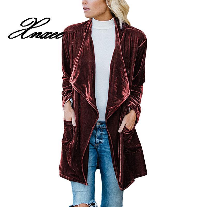 Xnxee Long Sleeve Retro Velvet Blazer Jacket Woman Draped Open Front Ladies Elegant Long Style Blazers Spring Auutumn