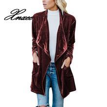 Xnxee a Maniche Lunghe Retro Velvet Blazer Jacket Donna Drappeggiato Anteriore Aperto Signore Elegante Stile Lungo Giacche Primavera Auutumn