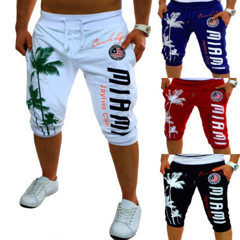 New Style Hot Sales Men'S Wear Sports Short Pants Palm Printed Design Fashion Casual Sports Capri Pants