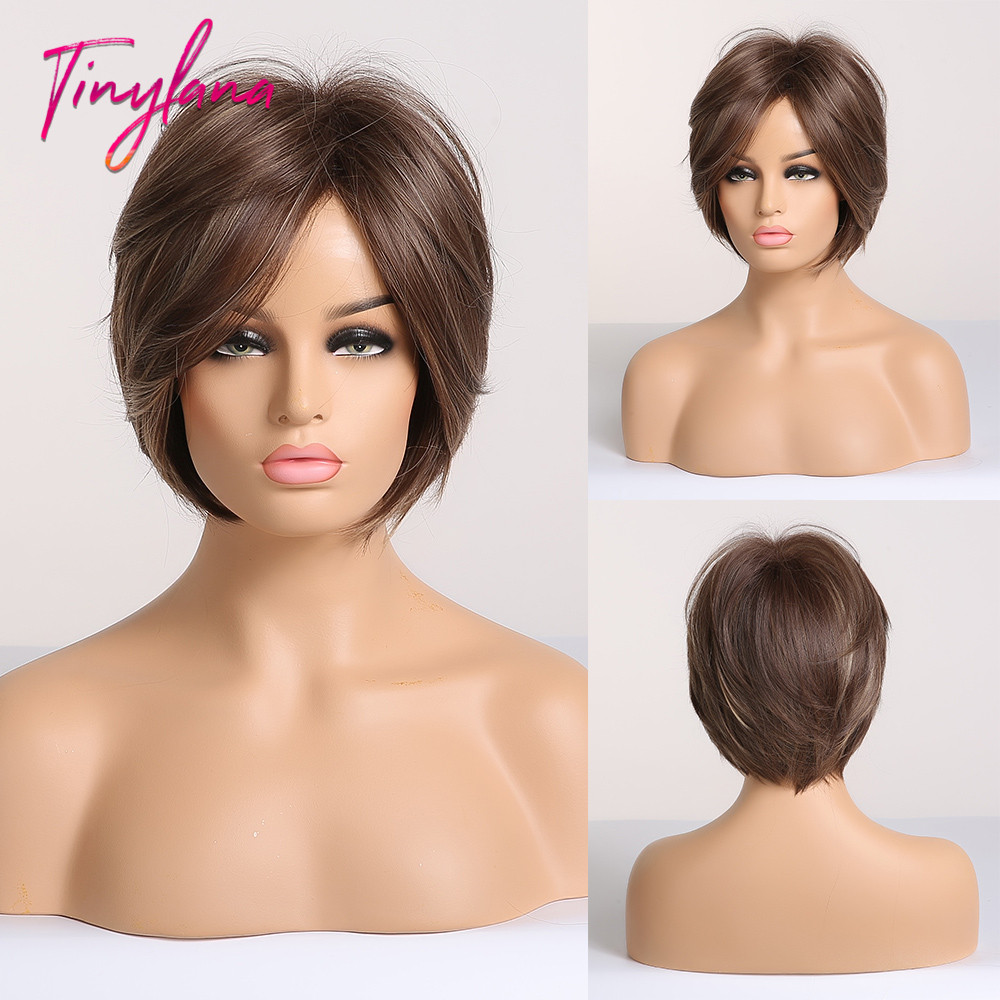 TINY LANA Women Straight Bangs Synthetic Hair Wig Bob Haircut Pixie Style With Bangs Blonde Brown Double Color Short Wig