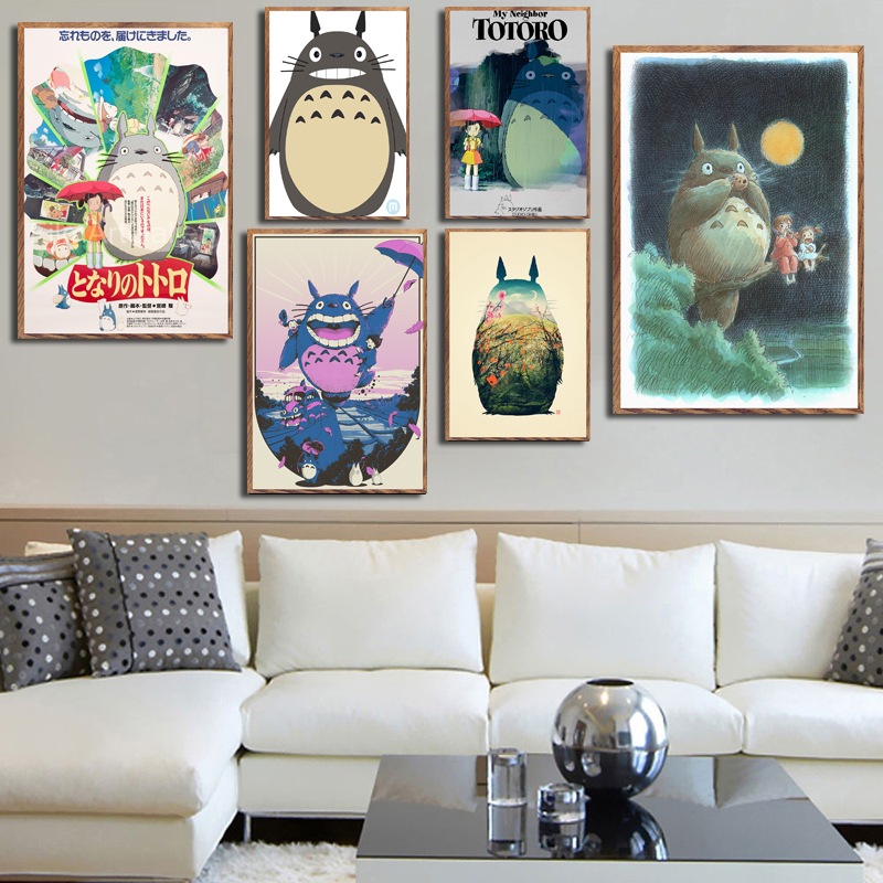 My Neighbour Totoro Ghibli Miyazaki Hayao Classic Anime Movie Art Painting Silk Canvas Poster Wall Home Decor image
