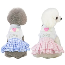 цена на New Pet Spring Summer Short Sleeves Skirt Small Medium Dogs Breathable Dress with Love Heart Pattern  Plaid Short Princess Skirt