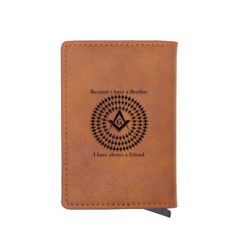 Because i Have a Brother I Have Always a Friend Masonic Mini Short Wallet Leather Aluminium Small Money Bag