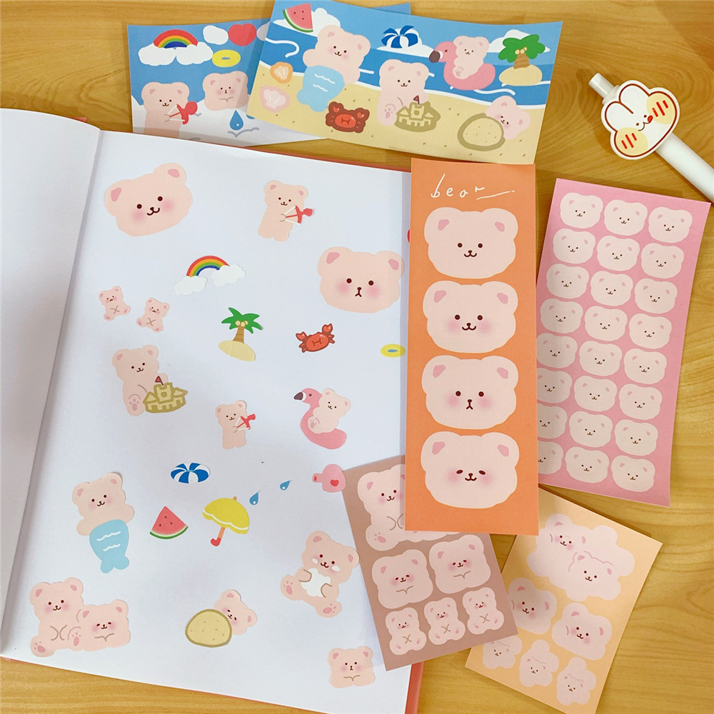 Cute Pink Furry Bear Sticker DIY Seal Sticker Phone Case Decoration Sticker