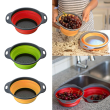 Foldable Silicone Colander Fruit Vegetable Washing Basket Strainer Collapsible Drainer With Handle Kitchen Tools D40
