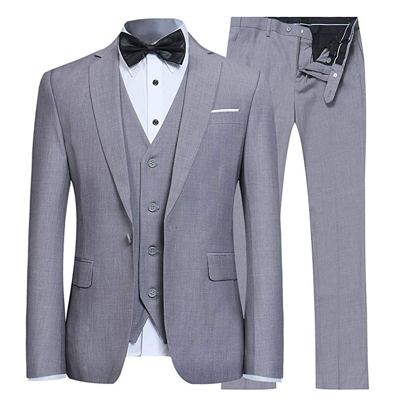 Quality Wedding Suits For Men 3 Piece Tuxedo Grey Black Navy Blue Groom Suits Jacket Pants Vest Mens Suits Designers 2020