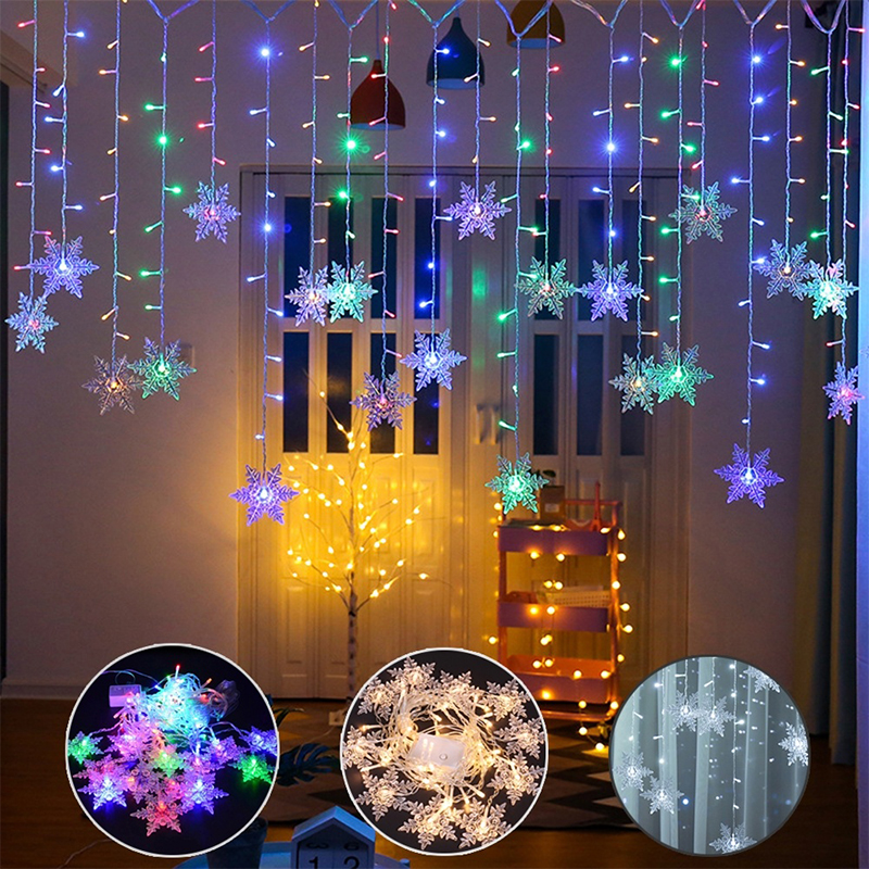 Colorful Snowflake 3.5M Christmas Light Curtain Lights Durable Romantic 8 Modes Garden Waterproof Landscape Lamp 96 Leds EU/US
