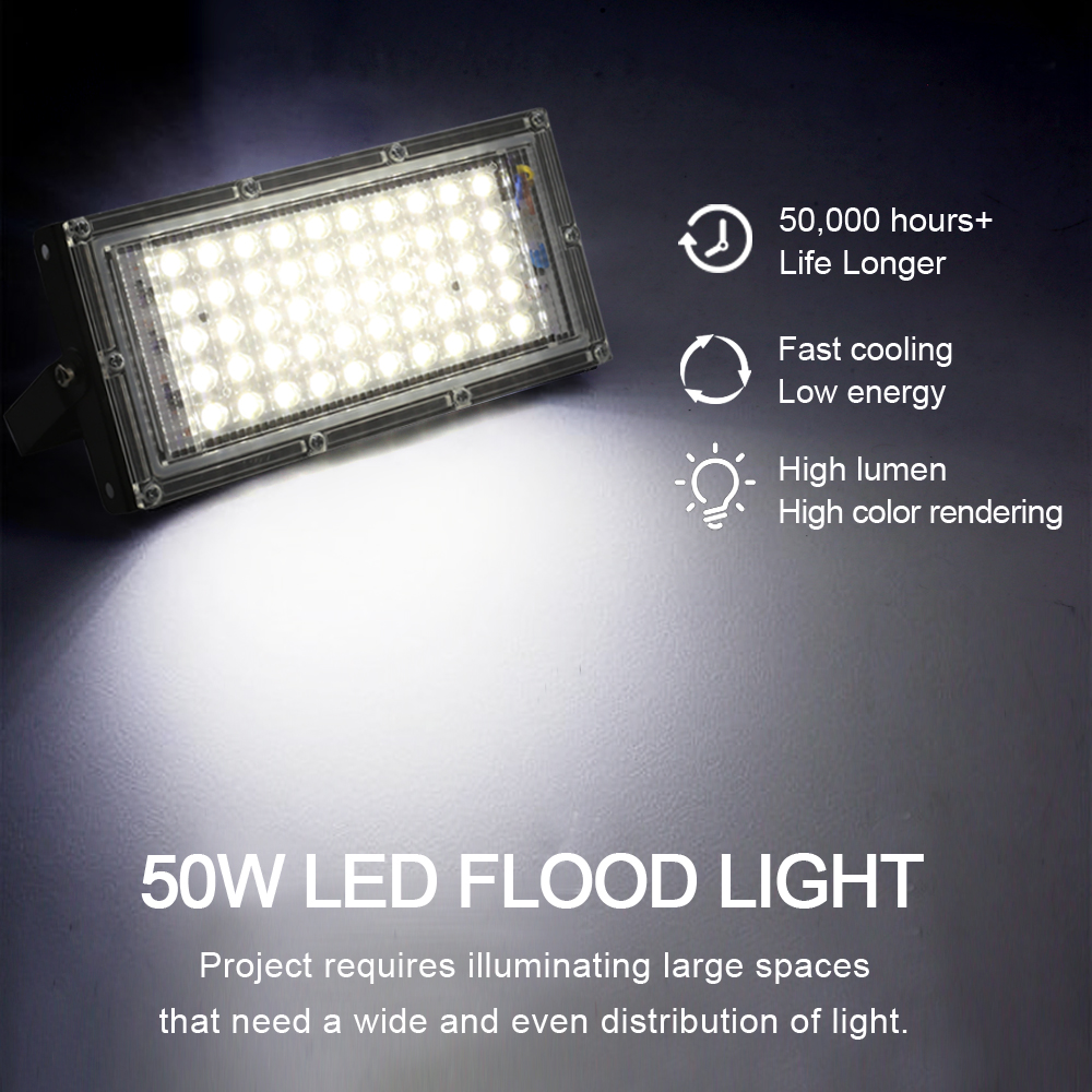 LED Flood Light 50W AC 220V 240V Outdoor Lighting Waterproof IP65 Floodlight LED Spotlight Big Power Fixture Reflector 4
