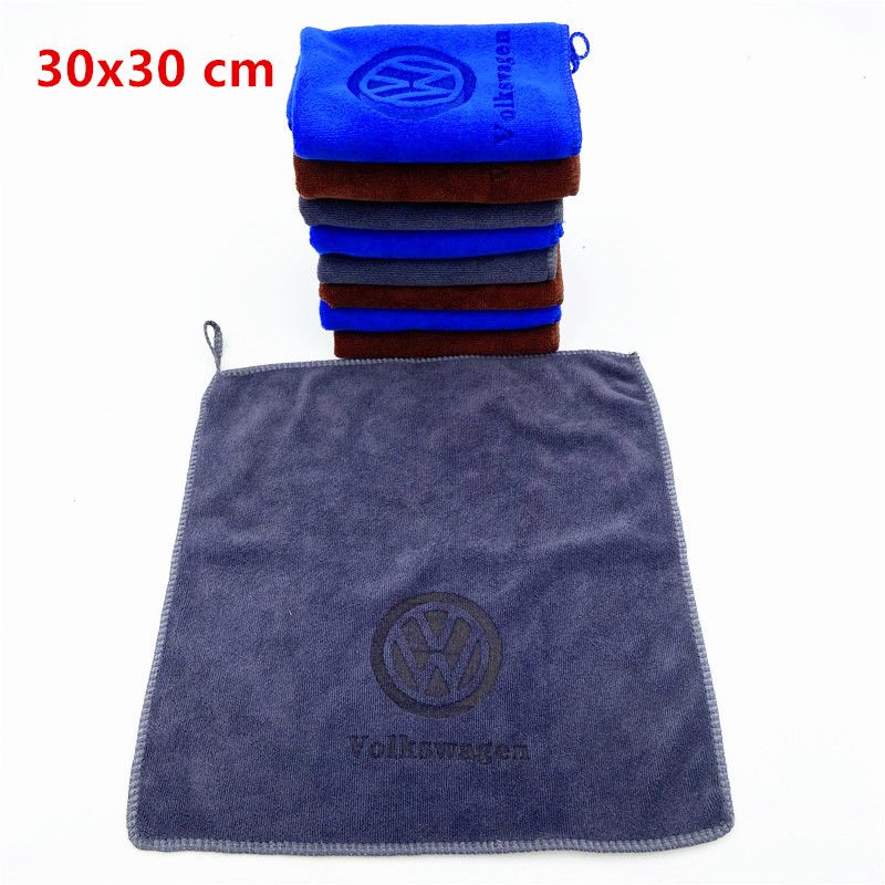 30X30 For VW Volkswagen Golf Polo Passat Tiguan Jetta Touran Car Wash Microfiber Towel Car Cleaning Drying Cloth Hemming|Car Stickers|   - AliExpress