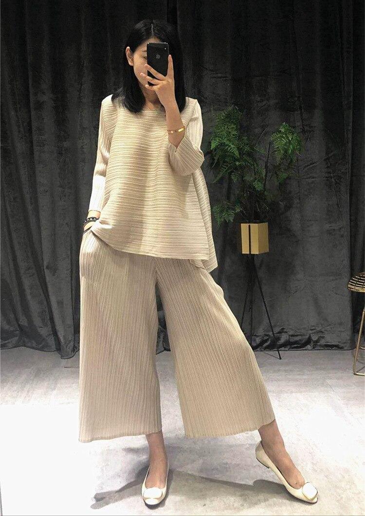 Женский костюм знаменитости Miyake, плиссированный костюм с аккордеоном, лето 2020, эффектные свободные штаны, комплект размера плюс с юбкой и топом 1045|Спортивные костюмы| | АлиЭкспресс