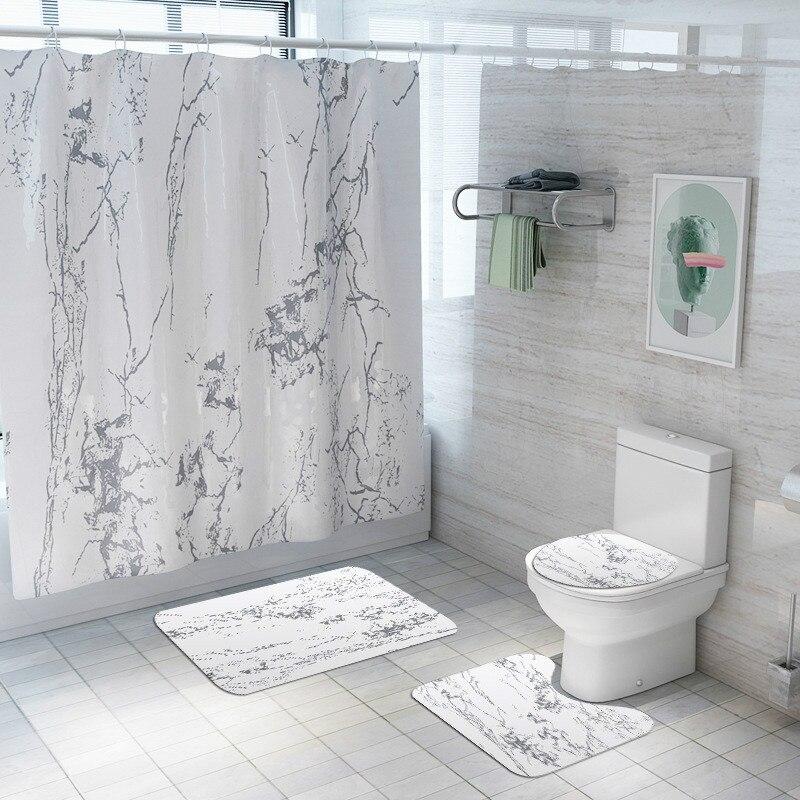 4 шт./компл., новая мраморная занавеска для душа, туалет, ковер, ванная комната, Противоскользящие коврики, перегородка, занавески, товары для ...