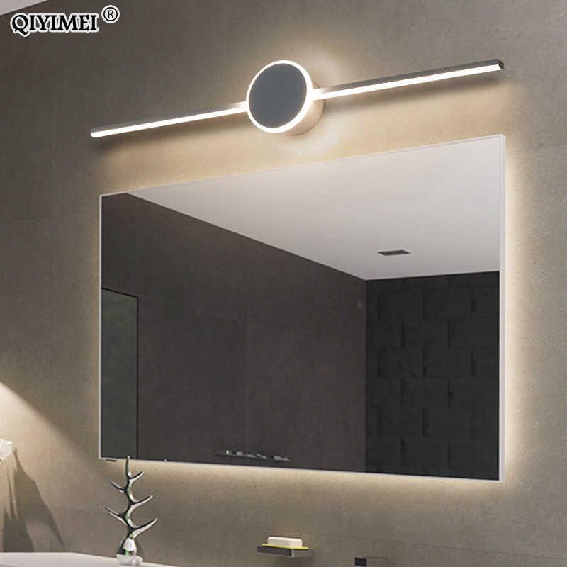 Светодиодные Настенные светильники для ванной комнаты, гостиной, белый, черный, железный Алюминиевый акриловая подставка для внутреннего зеркала, освещение, светильник