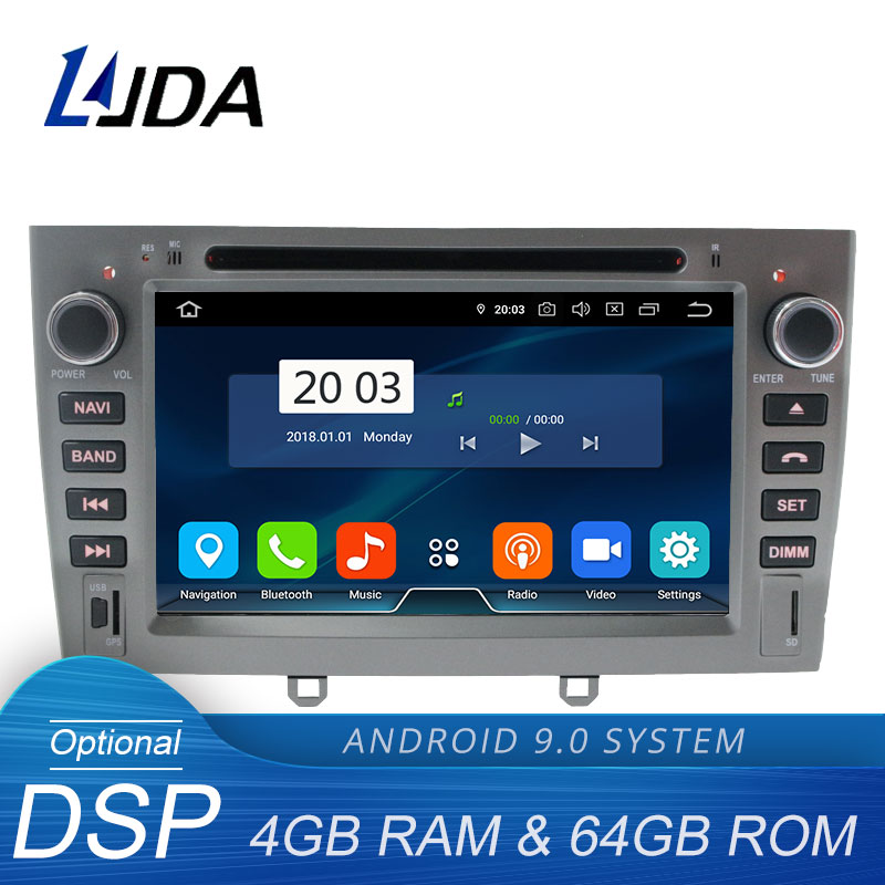 LJDA Android 9.0 Car Multimedia Player For <font><b>PEUGEOT</b></font> <font><b>308</b></font> 408 308W <font><b>GPS</b></font> Navigation 2 Din Car Radio 4G+64G Stereo WIFI DVD CD Video image
