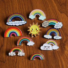 31Style Woman Brooch Mini Lapel Pins Collar Badge Bag Clothes Animal Rainbow Plant Sun enamel Pin Jewelry Gift for Girl Broche