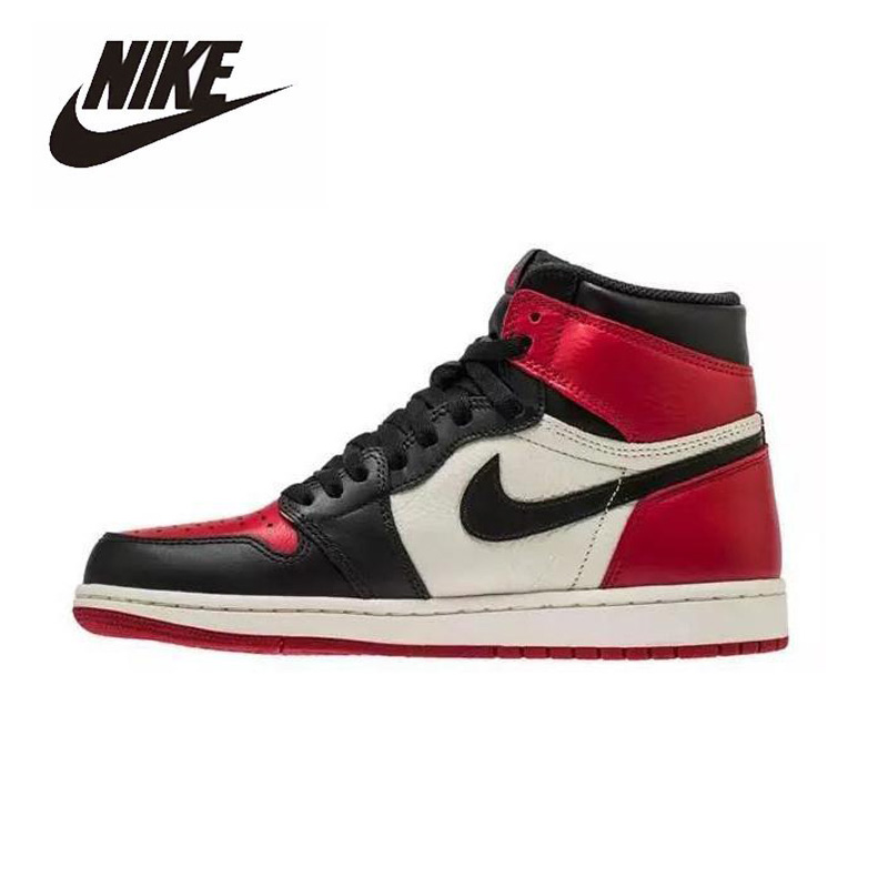 Nike Air Jordan 1 Retro High Bred Toe GS Basketball Shoes Men's Basketball Sneakers Unisex Women Breathable Outdoor 575541-610