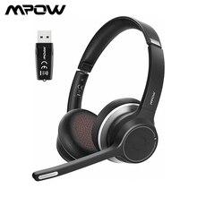Mpow HC5 블루투스 헤드셋 (USB 어댑터 포함) 블루투스 5.0 무선 헤드폰 (비즈니스 스카 이프 PC 용 소음 제거 마이크 포함)