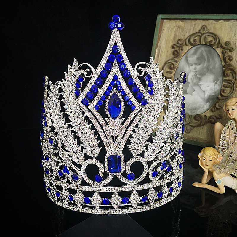 large big european tiara pageant gorgeous blue crystal rhinestones queen crown diadem wedding bridal party hair accessories b692