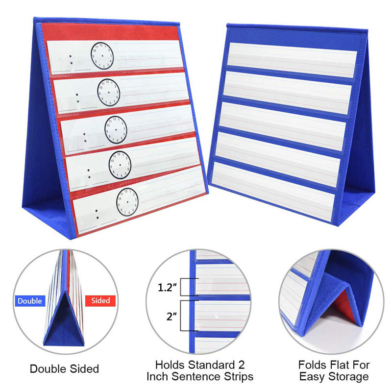 Desktop Pocket Chart Teaching Double-sided Self-standing Foladble For Classroom UND Sale