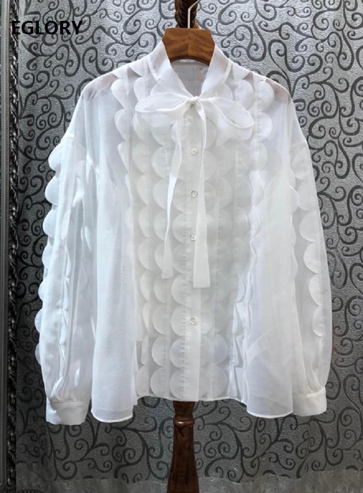 Высокое качество, подиумная блуза, рубашки, весна лето 2020, белая роза, красная, топы, рубашка, женская, волнистая, с оборками, Лоскутная, с длинным рукавом, рубашка