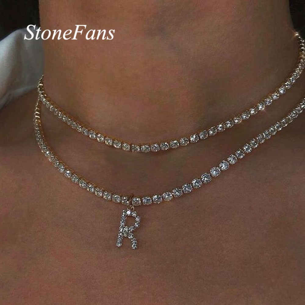 Stonefans Bling Letter Necklace Tennis Chain Custom Women Charming Statement Crystal Name...