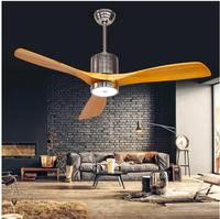 52inch Antique ceiling fan light fan light with remote control minimalism modern fan style LED lamp solid 3 wooden blades 52inch