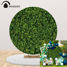 Allenjoy Photography Round Circle Backdrop Cover Plants Leaves Wall Green Nature Baby Shower Children Background Photo Photocall