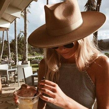 קלאסי רחב ברים Porkpie פדורה כובע גמל שחור 100% צמר כובעי גברים נשים מעיכים חורף כובע דרבי חתונה כנסיית ג 'אז כובעים