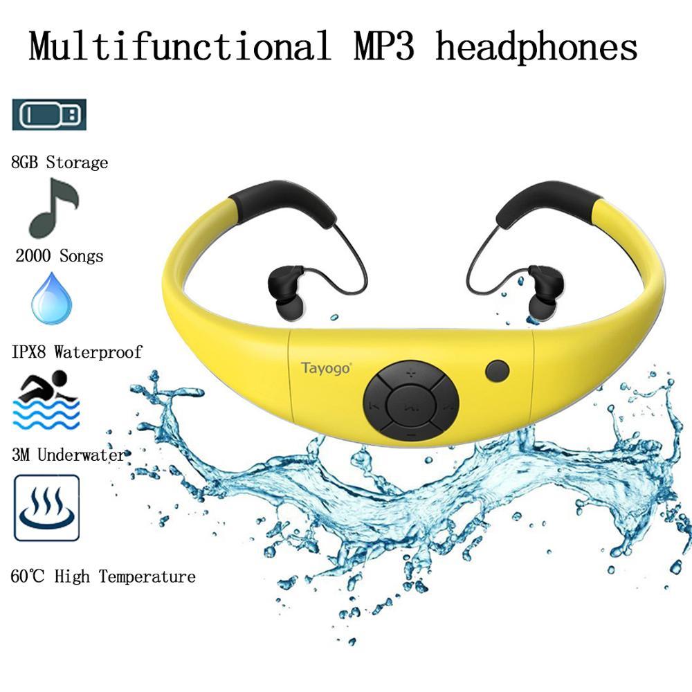 Tayogo Waterproof 8GB MP3 Player Stable Head-Mounted Headphone Mini Sports IPX8 Headset MP3 Player Swimming Ear Hook Earphones