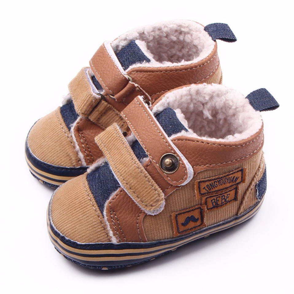 2019 New Arrival Fashion Warm Autumn Winter Canvas Stitching PU Baby Shoes Baby First Walker Toddler Shoes For Baby Boys