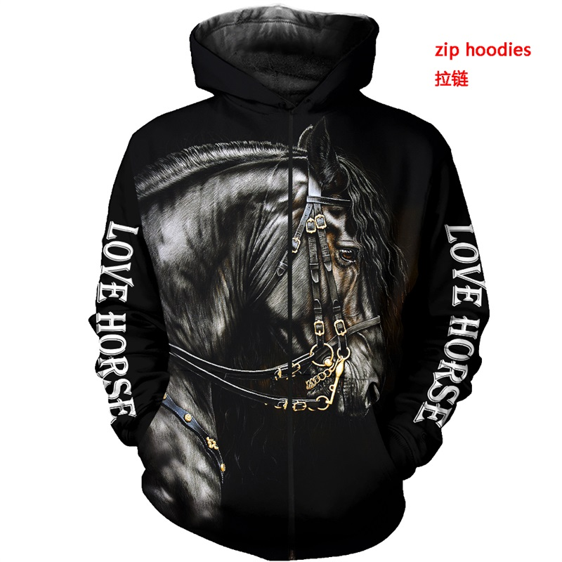 beautiful-horse-3d-all-over-printed-clothes-nn0118-zipped-hoodie