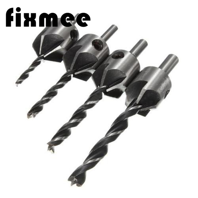 4 Pack HSS Counter Sink Bits Wood Countersink Power Tool Bit Set 5 Flutes Woodworking Chamfer Industrial Countersinks Bit Reamer