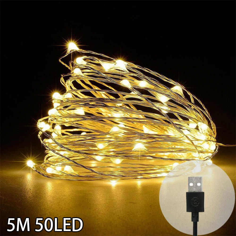 100LED String Copper Wire Fairy Lights USB Xmas Party Fairy Decor Lamp