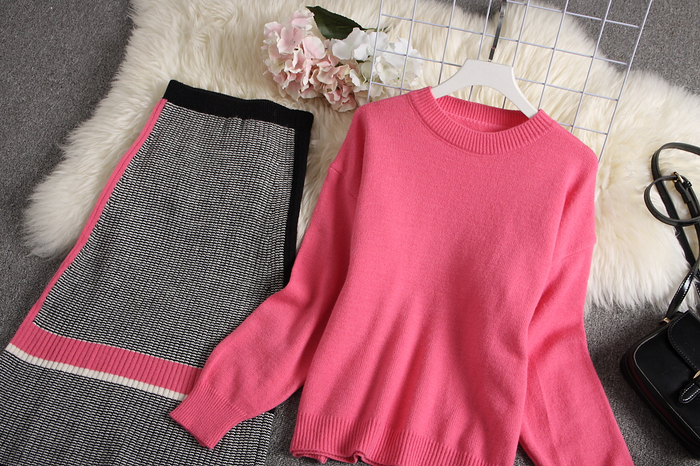ALPHALMODA 2019 Autumn New Arrived Women Knitting Sweater Skirt Suits Bright Color Youthful Winter Knitting Outfit 2pcs Set 121