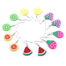 Wholesale 50pcs Cute Fruit Earrings Grape Watermelon Kiwi Strawberry Lemon Orange Drop for Women Jewelry Gift