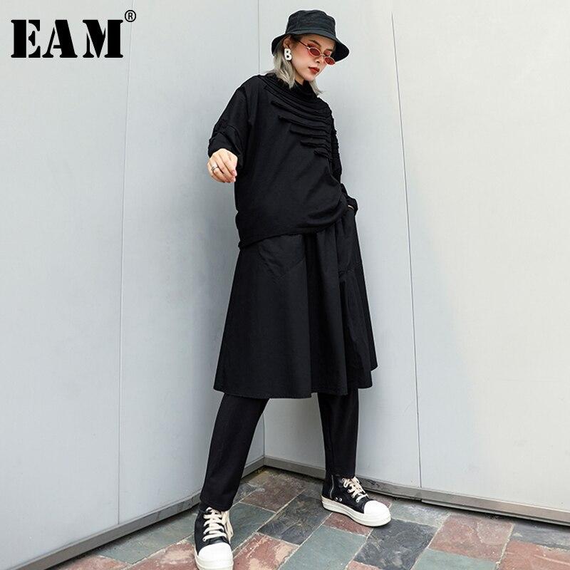 [EAM] 2019 New Autumn Winter High Elastic Waist Black Brief Pleated Loose Wide Leg Pants Women Trousers Fashion Tide WC32