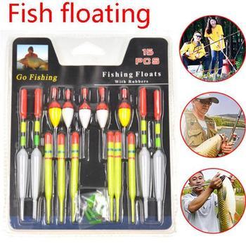 1 conjunto (15 pces) bóia vertical pesca do mar flutua tamanho sortido para a maioria dos tipos de pesca de peixes de aquário de pesca