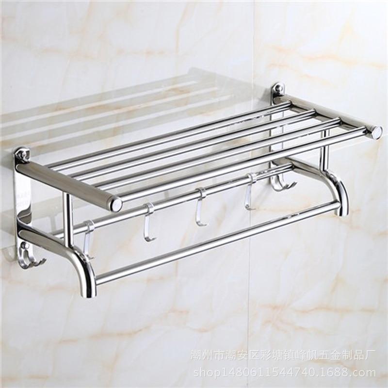 304 Stainless Steel Towel Rack Bathroom Thick Towel Rack Bathroom Free Punched Storage Shelf Hotel