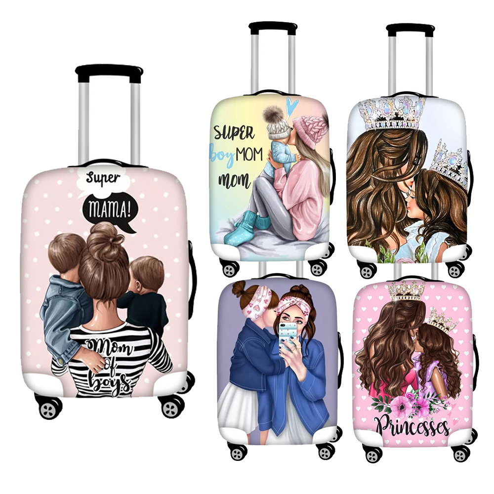 FORUDESIGNS Cartoon Super Mom Print Luggage Protective Cover For 18- 30 Elastic Travel Accessories Trolley Cases Suitcase Cover