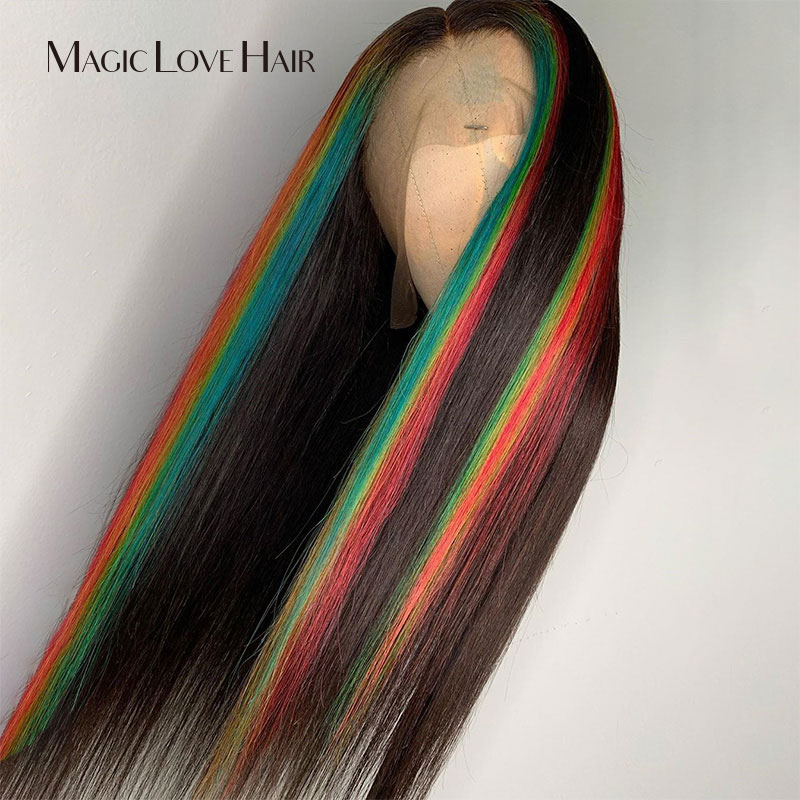 Magic Love Hair Customized 13x6 Lace Front Human Hair Wigs Pre Plucked With Baby Hair Brazilian Straight For Black Women