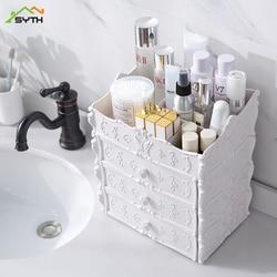 Grande plástico desktop cosméticos caixa de jóias organizador de maquiagem caixas de armazenamento titular cosméticos escova organizador de armazenamento